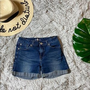 7 for all mankind girls denim shorts size 14